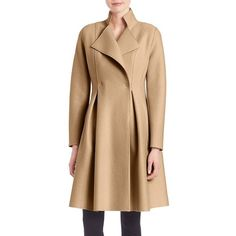 Harris Wharf London Woolen Long Coat (917 CAD) ❤ liked on Polyvore featuring outerwear, coats, apparel & accessories, camel, long wool coats, long woolen coats, long sleeve coat, beige wool coat and camel coat