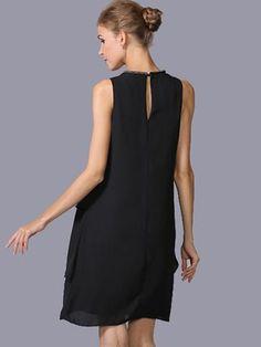 Black Brief Falbala Sleeveless Shift Dress – modewish Women's Fashion Dresses, Casual Dresses, Floral Print Maxi Dress, Midi Dress With Sleeves, Bodycon Dress Parties, Dress Patterns, Mac, Style, Clothing