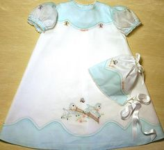 Sweet Springtime Pattern - The newest in the Berryhill Heirlooms pattern line is a Madeira decorated confection, either a long Daygown (pictured) that is suitable for a Baby Dedication or Christening, or a short Day Dress with a matching slip and bonnet. It's the perfect outfit with beautiful Lamb and Butterfly embroideries.