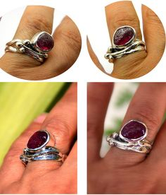 Sterling silver leaf ring raw ruby silver от nikiforosnelly