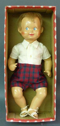 Bebé Poton casa Alfas celuloide cara pintada pelo natural ropa original caja años 40