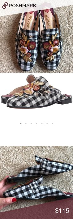 New! Sam Edelman Pemperly gingham-8 Brand new. No box. Never worn. Women's siZe 8  You'll be pretty as a picture in these picnic-perfect Sam Edelman® Pemberly 2 gingham mules! Textile upper with beaded and embroidered floral embellishment. Slip-on design. Man-made lining. Lightly cushioned man-made footbed. Low, block heel. Man-made sole. Imported. Product measurements were taken using size 5.5, width M. Please note that measurements may vary by size.. Measurements: Heel Height: 3⁄4 in Sam…