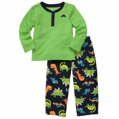 Make bedtime warm and cozy in the softest fleece pjs. Cute dinosaur print makes jumping into bed more fun!