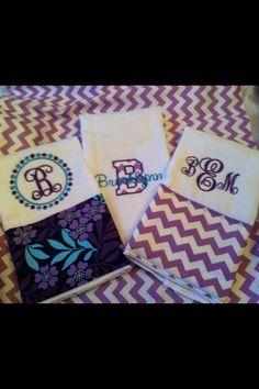 Set of 3 burp cloths purple/aqua
