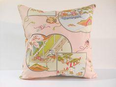 Etsy のJapanese Fabric Pillow | 144 | decorative pillow | 16x16 |,accent pillows,throw pillows,sofa pillows,couch pillows,throw,designer pillows(ショップ名:KyotoZakka)