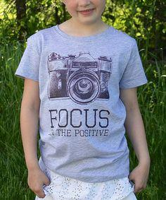 Gray 'Focus on the Positive' Tee - Girls #zulilyfinds