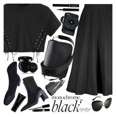 """Monochrome black"" by puljarevic ❤ liked on Polyvore featuring Guerlain, Sisley, Eos, Giorgio Armani, Oribe and allblackoutfit"