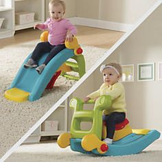 """2-in-1 Slide to Rocker: It's a toddler slide, it's a rocking toy…it's twice the fun in half the space! This clever 2-in-1 converts instantly from 32"""" slide to rollicking rocking toy, so kids keep moving and the giggles keep coming. Just release and rotate the handles, then flip the toy over (no tools needed)."""