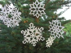 Five Handmade Paper Snowflake Ornament Decorations