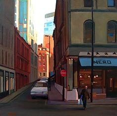 """Sunset Off Deansgate (Manchester) by Michael John Ashcroft Oil ~ 16"""" x 16"""""""