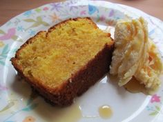 Lemon Curd Cake with maple syrup drizzled ice cream