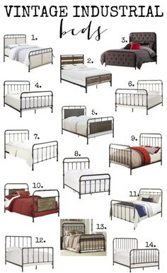 Huge round up of vintage industrial beds. Options for every budget - Huge round up of vintage industrial beds. Options for every budget Huge round up of vintage industrial beds. Options for every budget - Cama Industrial, Vintage Industrial Furniture, Industrial Interiors, Industrial Farmhouse, Industrial House, Industrial Design, Farmhouse Decor, Industrial Closet, Industrial Bookshelf