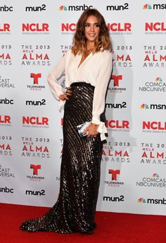 Jessica Alba sizzled on the red carpet at the 2013 ALMA Awards, wearing Juan Carlos Obando.
