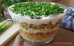 Warstwowa sałatka z tuńczykiem Curry, Pudding, Vegetables, Desserts, Food, Recipe, Salads, Tailgate Desserts, Curries