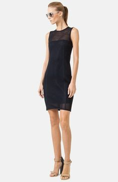 Akris punto Cotton Blend Mesh Sheath Dress available at #Nordstrom/ Cute dress, but don't you hate it when the model's toes hang over the front of the sandal?  The whole look could have been improved with a more skilled stylist.  Love the dress, though.