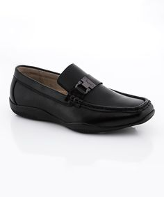 Look at this Franco Vanucci Boys Black Tod Leather Loafer on #zulily today!