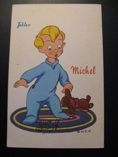 Vintage old postcard France WALT DISNEY Tobler Chocolates  Advertising, Michel..