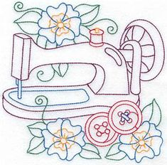 Sewing machine & flowers medium (AISB110B) Embroidery Design by Adorable Ideas