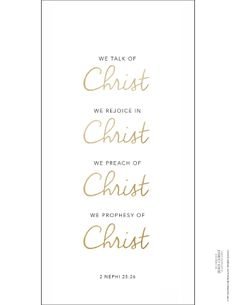 A white background with the words of 2 Nephi 25:26 written in black and gold.