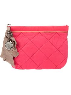 Bright pink leather clutch from Lanvin featuring a quilted design, a silver-tone logo charm with tonal ribbon details and a concealed zip fastening. The interior features a leather logo patch.