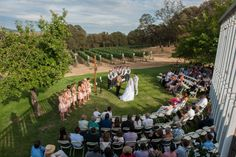 Ceremony chairs set up in half circle