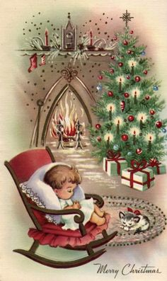 I love vintage Christmas cards! This is a selection of 30 of the best vintage and mid-century Christmas images, plus links to more, to print and decorate for the holidays. Vintage Christmas Images, Old Christmas, Old Fashioned Christmas, Christmas Scenes, Retro Christmas, Vintage Holiday, Christmas Holidays, Christmas Crafts, Antique Christmas