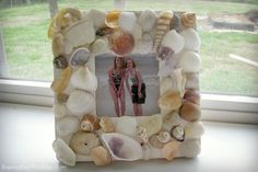 Diy Sea Shell Frame - must do this with photos from our Myrtle Beach pictures next month