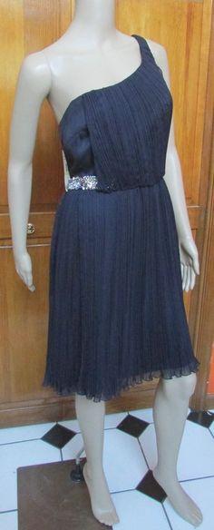 ABS NWT One Shoulder Navy Blue Knee Length Pleated Jeweled Dress S 4 MSRP: $310  #ABSbyAllenSchwartz #OneShoulder #Cocktail
