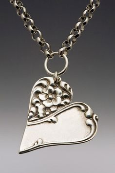 So pretty! Silver Spoon Jewelry: Vintage Spoon and Fork Jewelry: Charlotte Spoon Heart Pendant Necklace