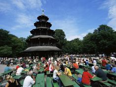 Cute People Sitting at the Chinese Tower Beer Garden in the Englischer Garten Munich Bavaria Germany