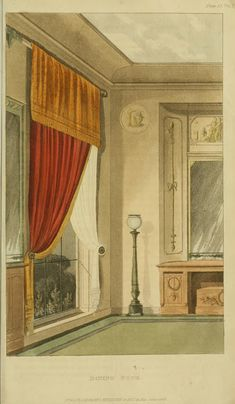 Neoclassical Interior. 1816 - Dining Room with Window Treatment - Ackermann's Repository