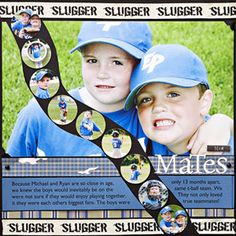 Use Punched Photos as Decorative Accents - a picture for each year of Little League would be nice.