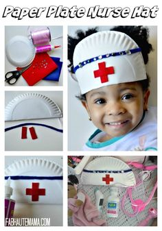 Sick Toddler Survival Kit + DIY Paper Plate Nurse Hat Arts and Crafts: How to make a paper plate nurse hat DIY. Plus what to keep in your Sick Toddler Survival Kit. Toddler Crafts, Toddler Activities, Preschool Activities, Crafts For Kids, Kids Diy, Community Helpers Crafts, Sick Toddler, Sick Kids, Nurse Crafts