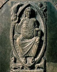 Christ in Majesty,reliefintheambulatoryofSaint-Sernin,Toulouse,France,ca.1096.Marble, 4′2″high. - Romanesque