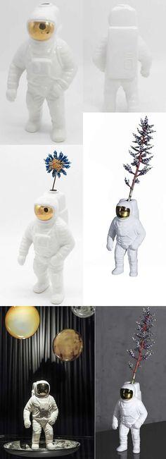Ceramic Astronaut Decor Flower Vase Vase Decorative and Functional