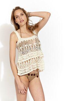 Crochetemoda: White Crochet Top