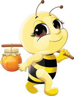 Cute bee with honey Jar vector 02 Cartoon Bee, Cartoon Pics, Cute Cartoon, Honey Bee Cartoon, Happy Cartoon, Bee Pictures, Art Mignon, Cute Bee, Bee Art