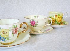 Vintage Teacups and Saucers  Pastel Tea Cup
