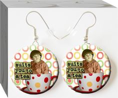 Suits You To A Tea #Button Charm Earrings #Button Charm Jewelry