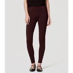 LOFT Seamed Ponte Leggings ($50) ❤ liked on Polyvore featuring pants, leggings, autumn burgundy heather, stretch trousers, stretchy pants, burgundy pants, ponte leggings and stretchy leggings