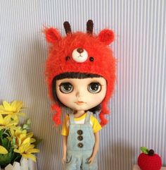 Blythe Furry Deer Hat | Doll Hat | Doll accessories