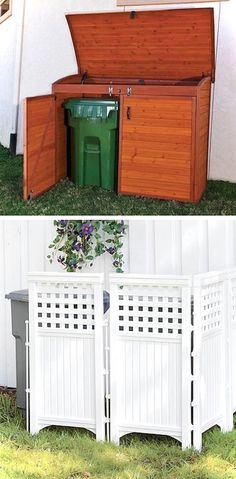 17 Easy and Cheap Curb Appeal Ideas Anyone Can Do (on a budget!) Hide your unsightly trash cans behind lattice, or build/buy a storage shed for the cans Easy and Cheap Curb Appeal Ideas Anyone Can Do) Outdoor Projects, Home Projects, Outdoor Living, Outdoor Decor, Outdoor Privacy, Outdoor Spaces, Shed Plans, House Plans, Barn Plans