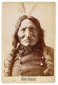 Barry Cabinet Card of Red Horse, Lakota Sioux, with Barry's Bismark and Standing Rock imprint. Red Horse, a participant of the Battle of Little Bighorn, is known for documenting the battle with 41 ledger drawings. Native American Pictures, Native American Beauty, Native American Tribes, Native American History, American Indians, Native Indian, Portraits, Cowboys, Sioux Nation