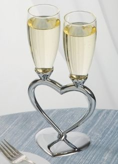 Heart to Heart Glass Flutes with Silver Base - Personalized Toasting Flutes - Toasting Flutes - Wedding Accessories Wedding Champagne Flutes, Wedding Glasses, Wedding Wishes, Our Wedding, Wedding Bells, Wedding Dress, Heart Glasses, Toasting Flutes, Wedding Accessories