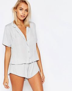 Image 1 of ASOS Miley Satin Piped Pajama Top & Short Set