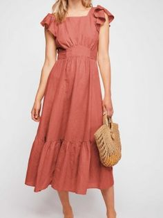 Simple Cheap Chic, Shop Orange Cotton Ruffle Trim Open Back Chic Women Midi Dress online. Chiffon Maxi Dress, Dress Skirt, Simple Dresses, Cute Dresses, Awesome Dresses, Dresses Dresses, Midi Summer Dresses, Long Dresses, Backless Dresses