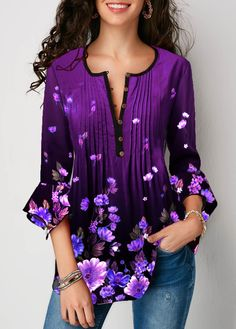 Flare Sleeve Crinkle Chest Floral Print Blouse Women Clothes For Cheap, Collections, Styles Perfectly Fit You, Never Miss It! Stylish Tops For Girls, Trendy Tops For Women, Blouses For Women, Women's Blouses, Formal Blouses, Blouse Styles, Blouse Designs, Trendy Fashion, Womens Fashion