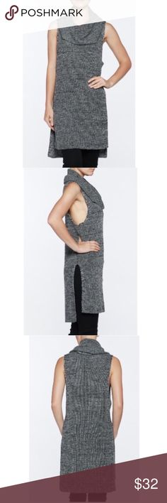 "🆕Chic gray cowl neck knit top 💕💕 Absolutely stunning cowl neck charcoal tunic. Has more of a white, black and gray color blend to it which makes it look more charcoal. It's really soft and not itchy at all. Sleeveless. Made out of 70% acrylic, 25% nylon and 5% mohair materials❤️MEASUREMENTS: length back 33"" - length front 30"" - bust 19.5""❤️ Dorimas Closet Tops"