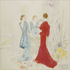 Schiaparelli and Worth Gowns  Originally appearing in the February 15, 1934, Vogue, Cecil Beaton's delicate illustration features a woman in a blue Elsa Schiaparelli dress with puffed sleeves and an aproned skirt, reflected in a grand mirror, and her companion in a red Worth gown with soft ruffles. They are flanked by a statue and an armchair on one side and a settee on the other. The oriental floral motif of the carpet and armchair upholstery  are suggestive of Art Nouveau.