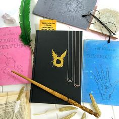 Magic Notebooks and necklace from Literary Emporium.  Harry Potter wand.